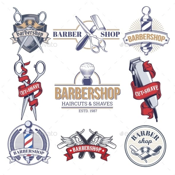 Collection Badges, Logos with Barbershop Tools