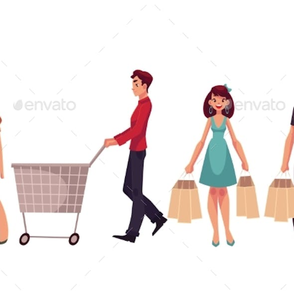 Young Men and Women with Shopping Bags