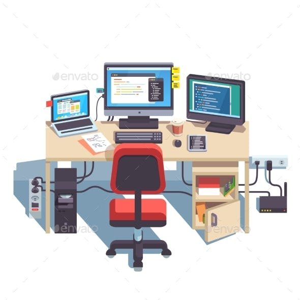 Professional Programmer Working Desk