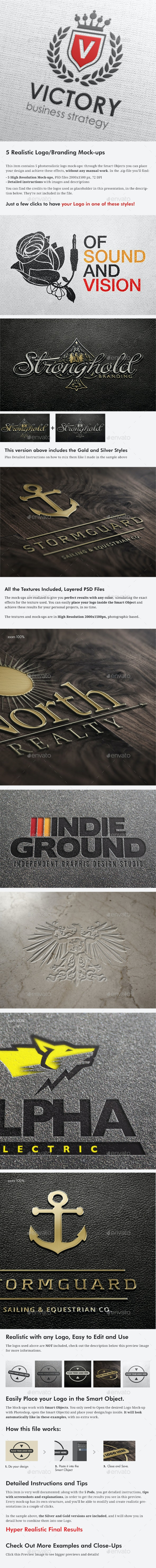 5 Realistic Logo/Branding Mock-ups - Layered PSD's - Logo Product Mock-Ups