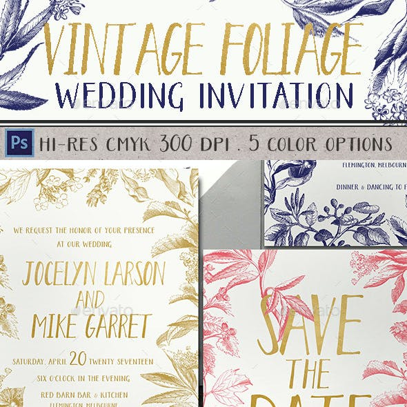 Vintage Foliage Wedding Invitation