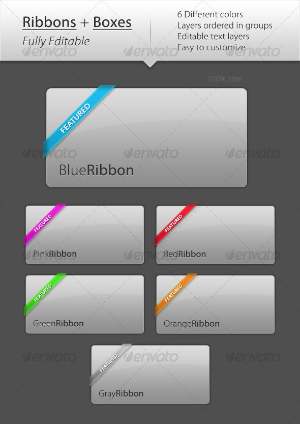 Ribbons and Boxes - Web Elements