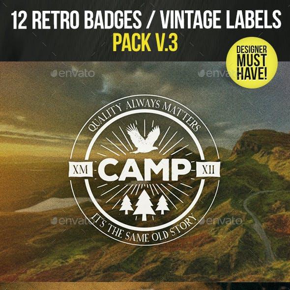 12 Retro Badges / Vintage Labels V.3