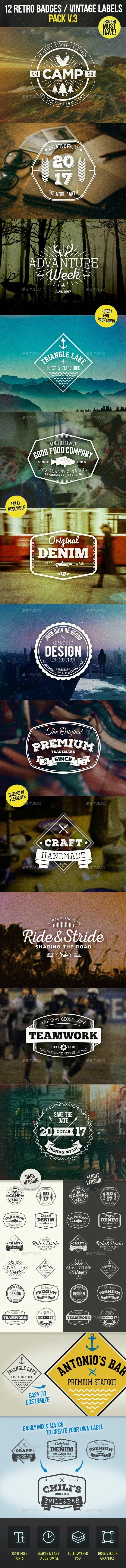 12 Retro Badges / Vintage Labels V.3 - Badges & Stickers Web Elements