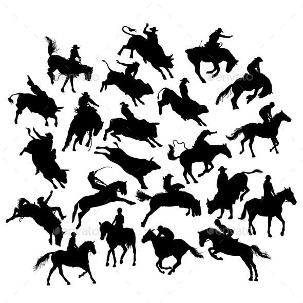Rodeo and Horse Racing Silhouettes