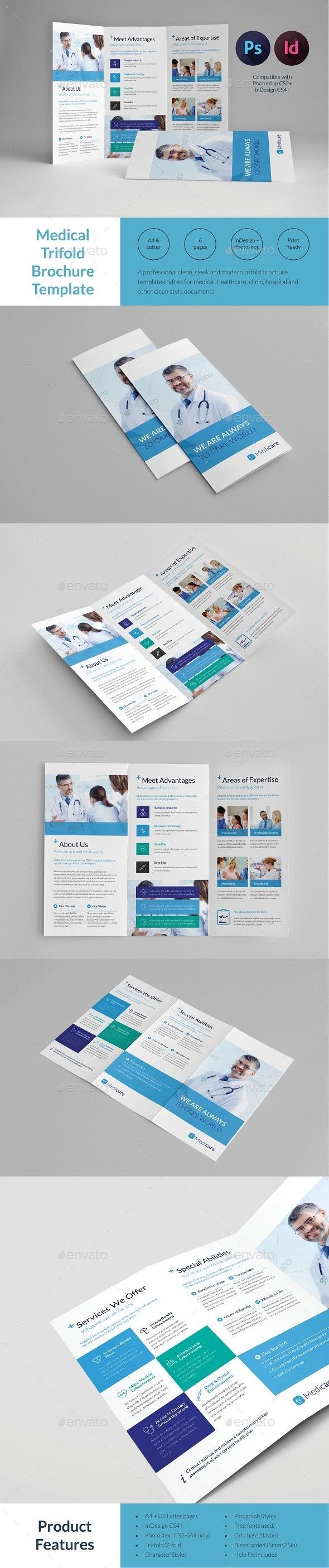 Medical Trifold Brochure Template - Informational Brochures