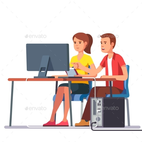 Business Man and Woman Working Together - People Characters