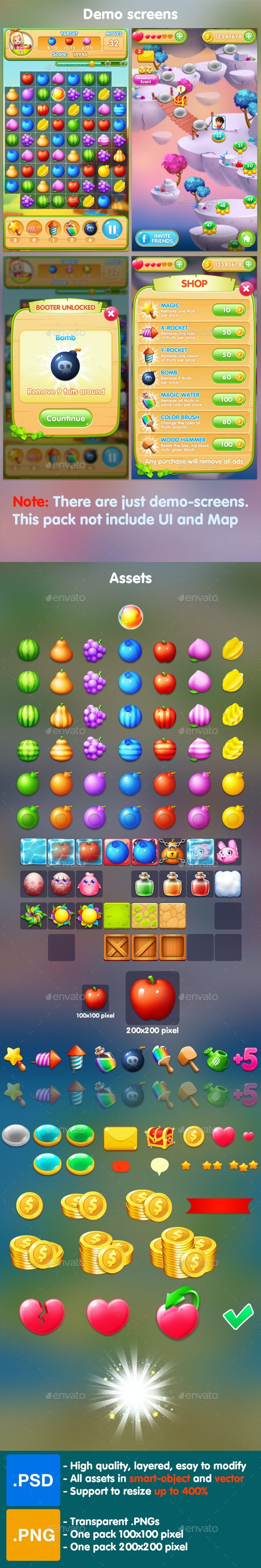 Fruits - Match 3 Game Assets - Game Kits Game Assets