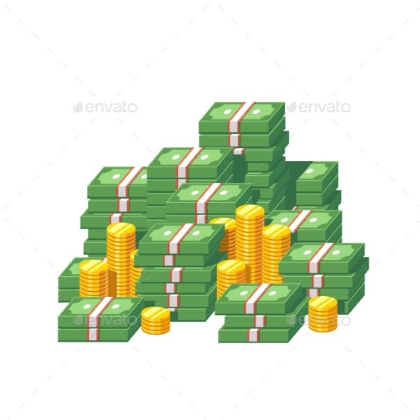 Stacked Packs of Dollar Bills and Gold Coins