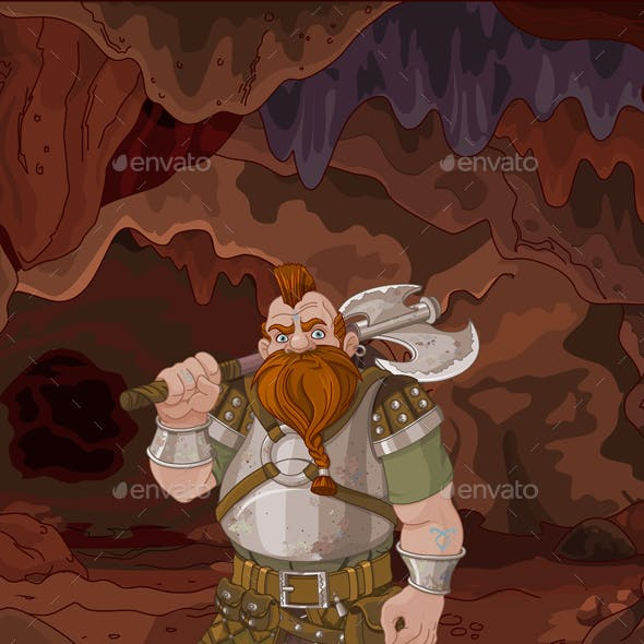 Fantasy Style Dwarf in the Magic Cave