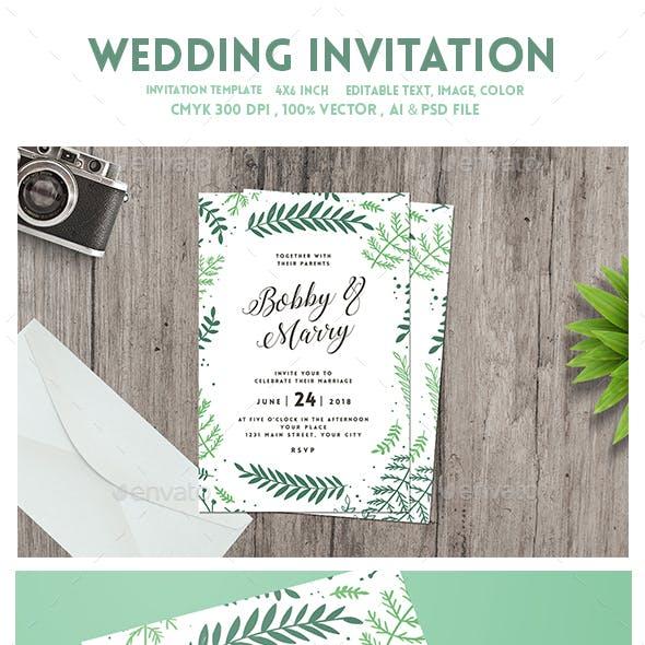 Green Floral Wedding Invitation