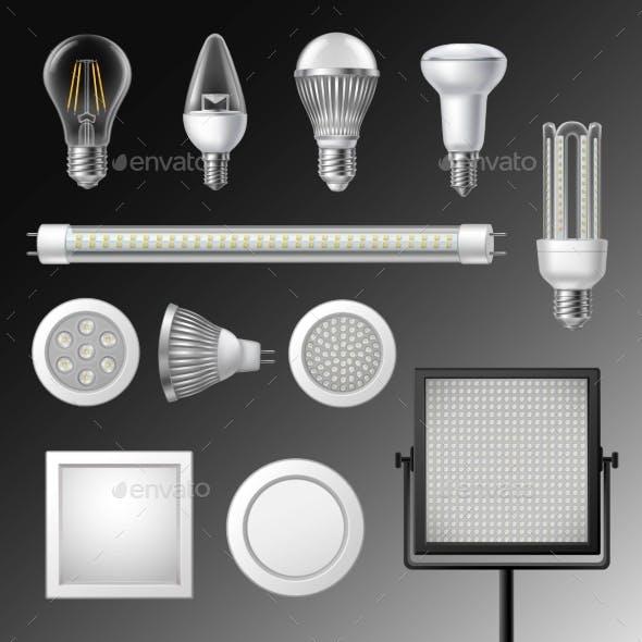 Realistic Led Lamps Set