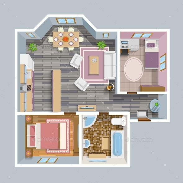 Architectural Flat Plan Top View - Buildings Objects