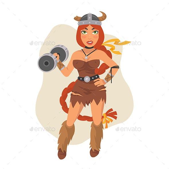 Viking Girl Holds Dumbbell