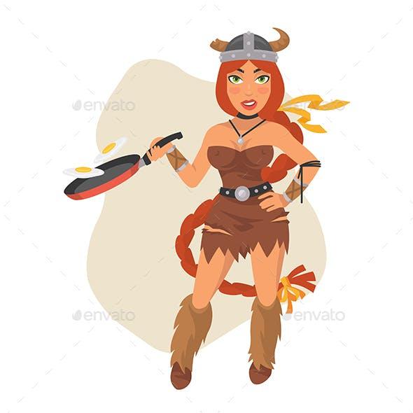 Viking Girl Holds Frying Pan