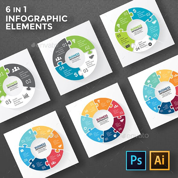 Circle Puzzle Infographic Diagrams. PSD, EPS, AI.