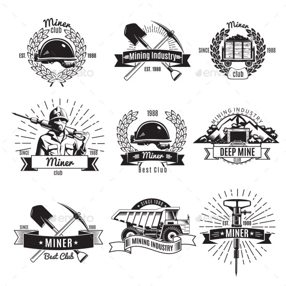 Mining Industry Vintage Emblems