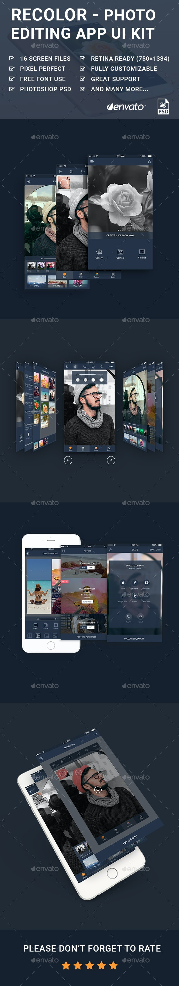 Recolor - Photo Editing Mobile App UI Kit - User Interfaces Web Elements