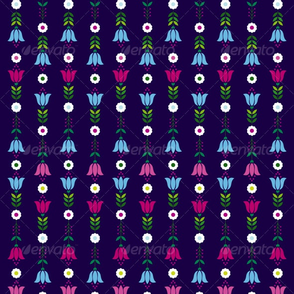 Retro flowers pattern - Patterns Decorative