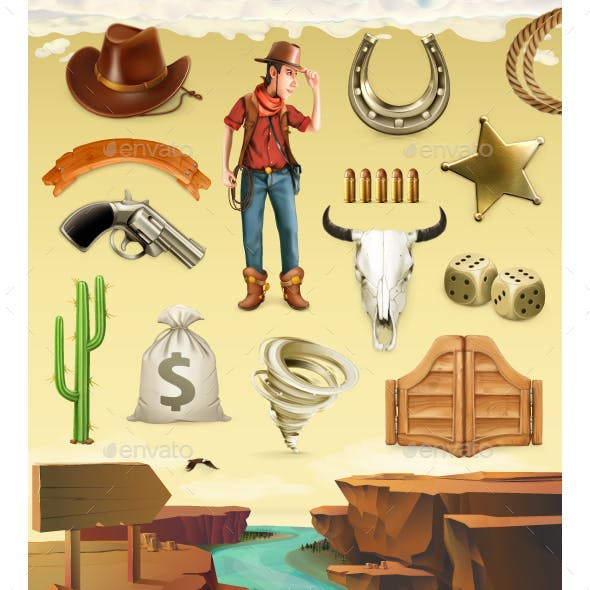 Cowboy Cartoon Character And Objects. Vector Icon Set