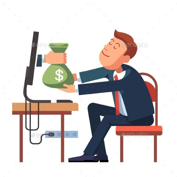 Hand Giving Money From a Computer To Businessman