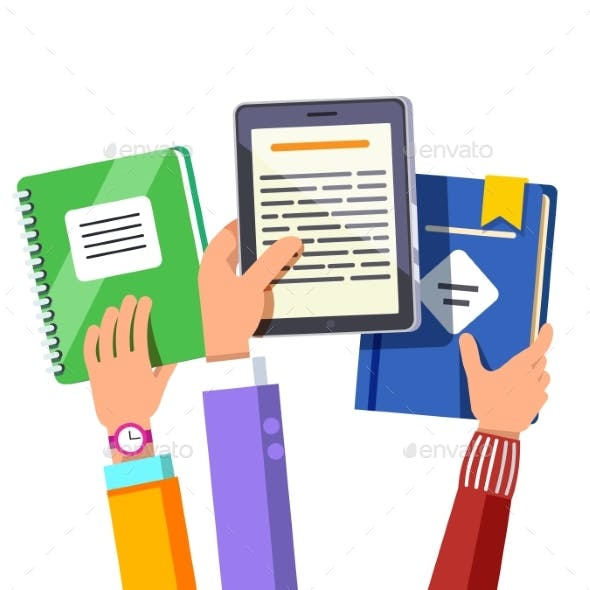 Students Holding Opened Book and Tablet Computer