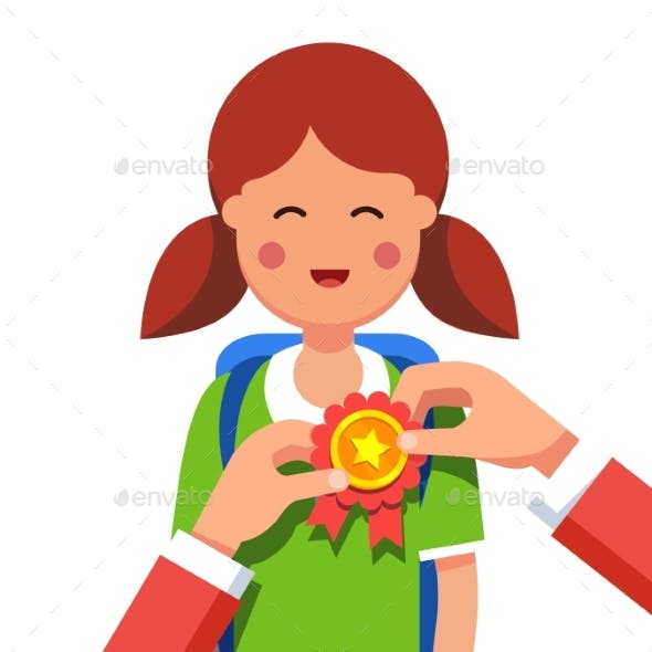 Student Girl Being Awarded for Win at School Fair