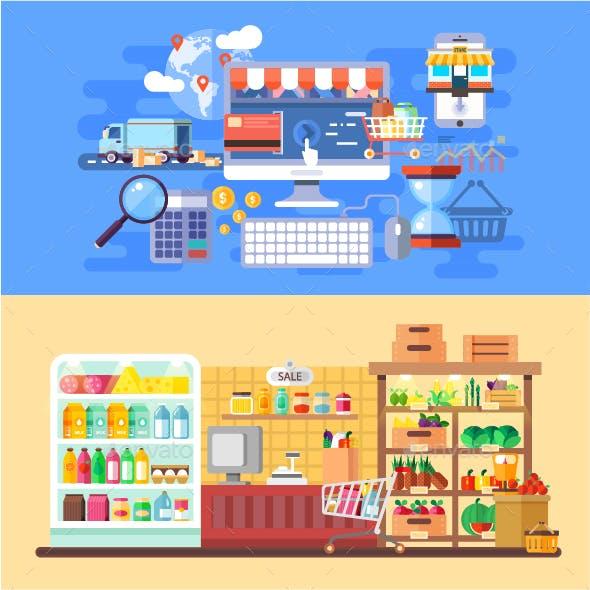 Flat Concept Supermarket and E-Commerce