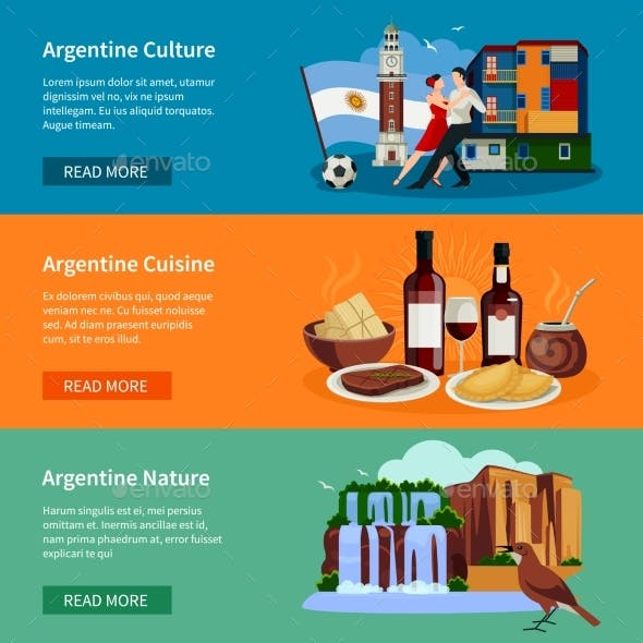 Touristic Argentina Flat Banners Website Page