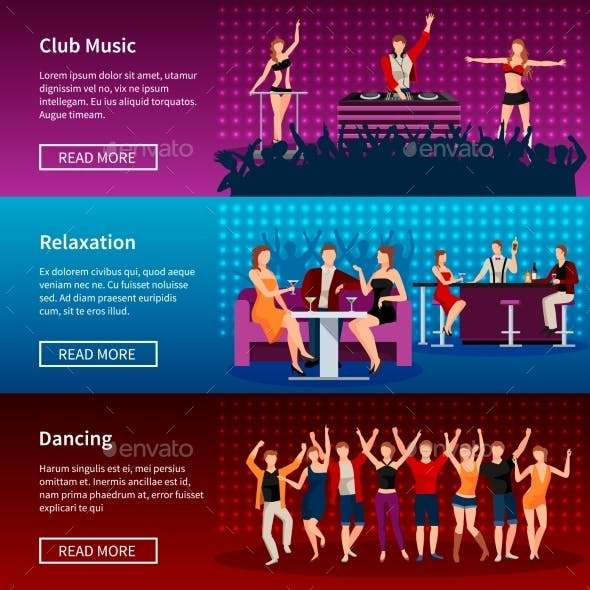 Nightlife Dance Club Flat Banners Set