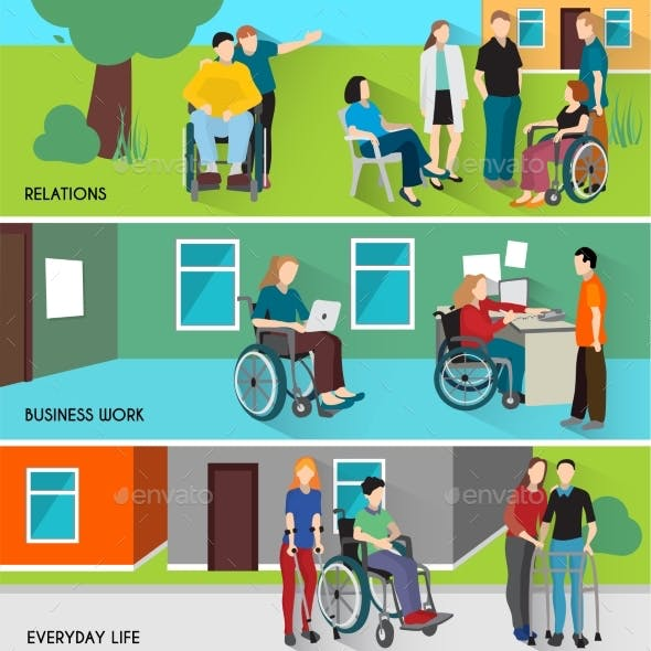 Disabled People Banners Set