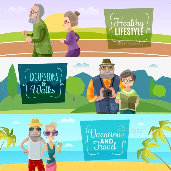 Old Couple Horizontal Banners - People Characters