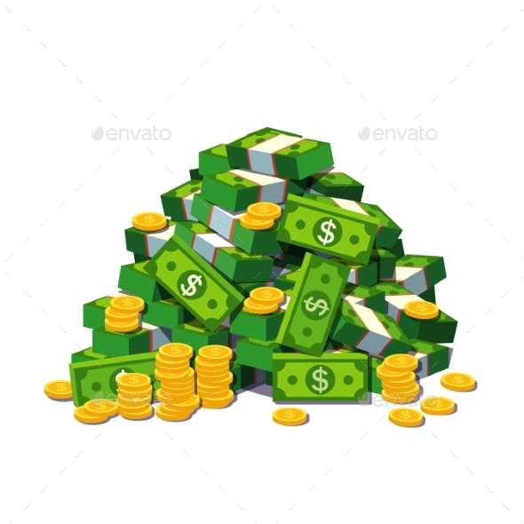 Big Pile of Cash Money and Some Gold Coins