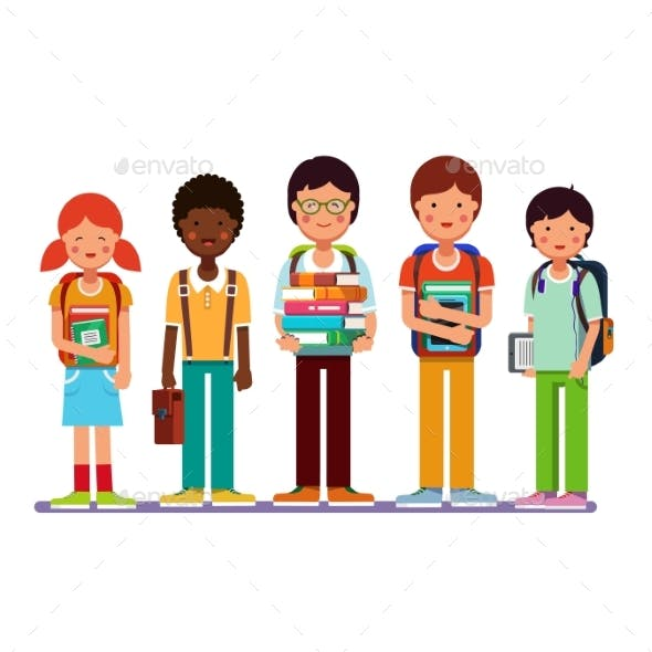 Multi Ethnic Group of School Students Kids