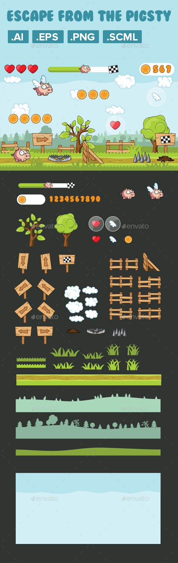 Game Asset, 2D Character Pig Runner - Game Kits Game Assets