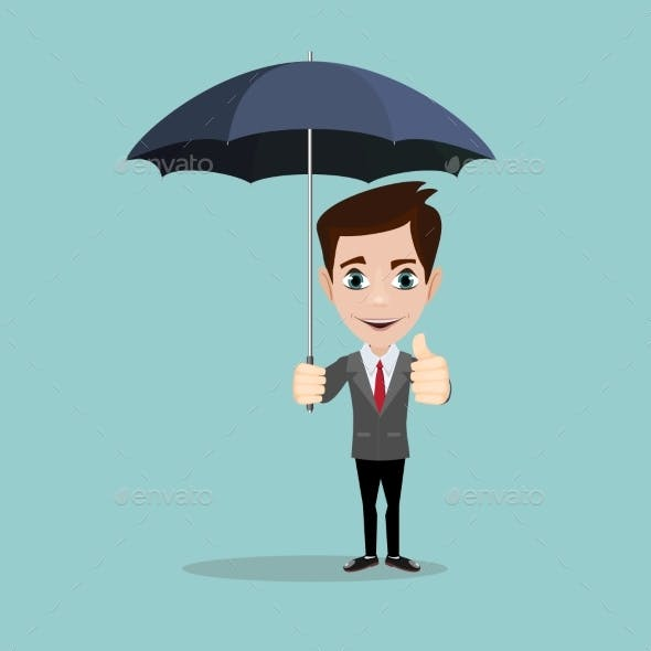Businessman with Umbrella for Protection