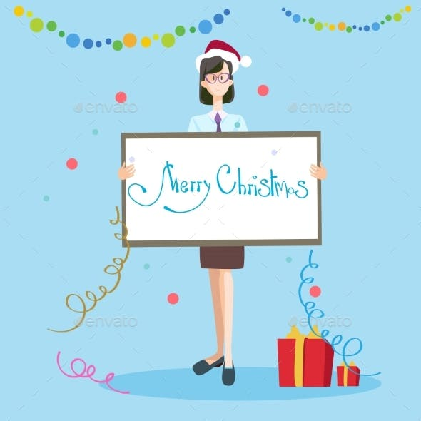 Business Woman Hold Banner Merry Christmas