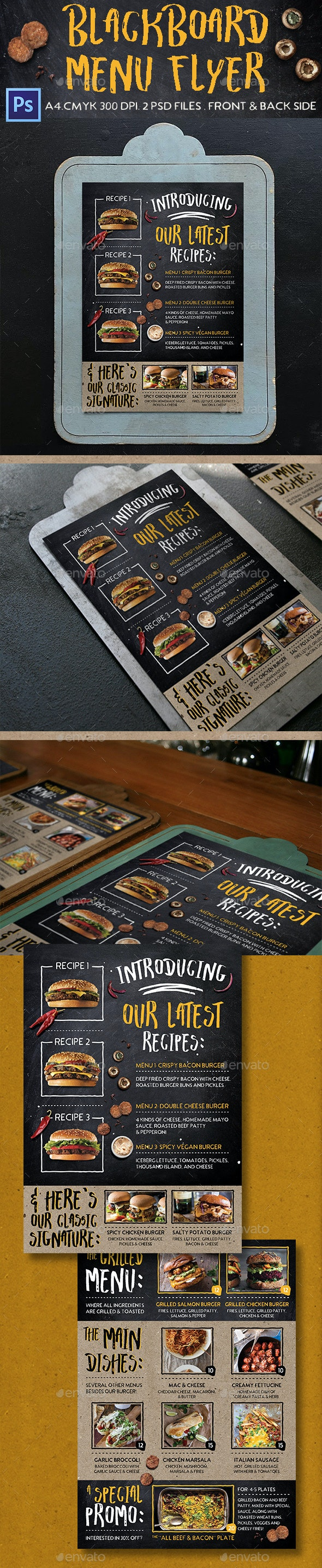 Blackboard Menu Flyer - Food Menus Print Templates
