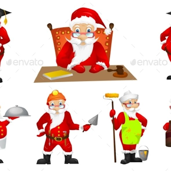 Vector Set for Christmas with Santa Claus.