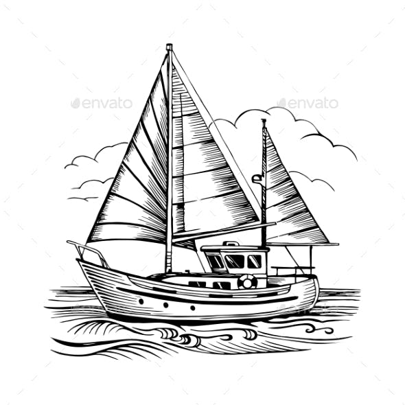 Sailing Boat Vector Sketch Isolated with Clouds