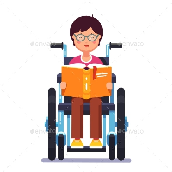 Groovy Disabled Boy Sitting In A Wheelchair And Reading Gmtry Best Dining Table And Chair Ideas Images Gmtryco