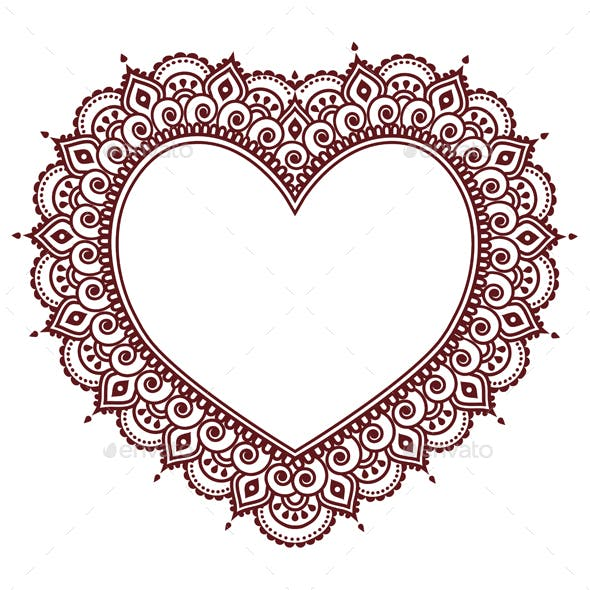Valentine's Day Grettings Card with Heart Mehndi