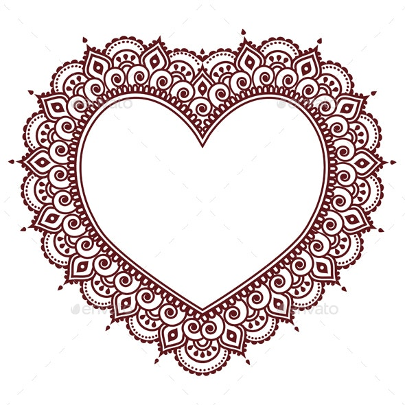 Valentine's Day Grettings Card with Heart Mehndi - Valentines Seasons/Holidays