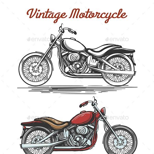 Vintage Motorcycle Hand-Drawn Illustration