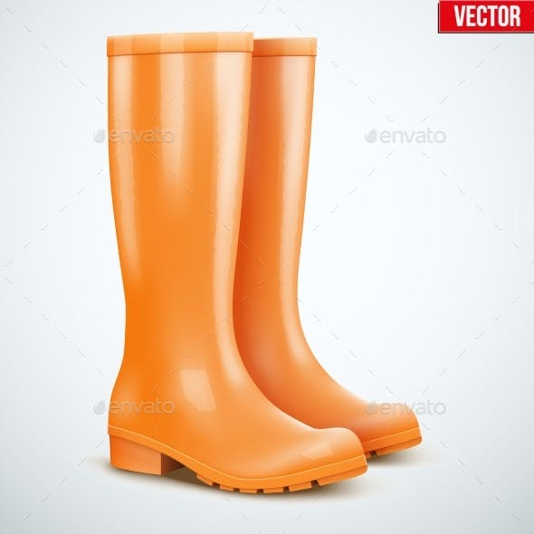 Pair of Orange Rain Boots