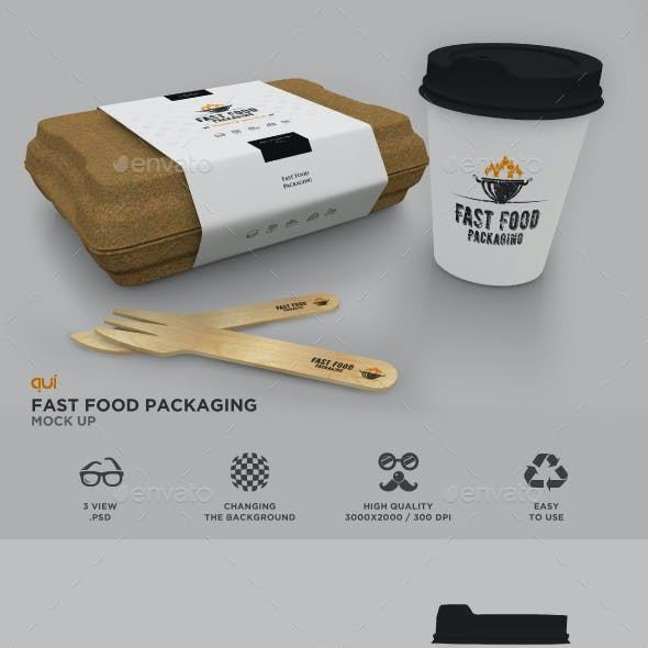 Packaging Set: Fast Food Box and Coffee Cup Mockup