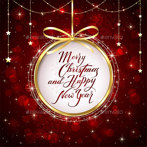 Christmas and New Years Greeting on Red Shiny Background