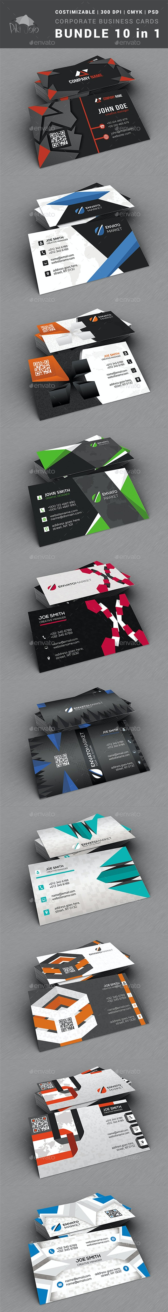 Corporate Business Cards BUNDLE 10 in 1 - Corporate Business Cards