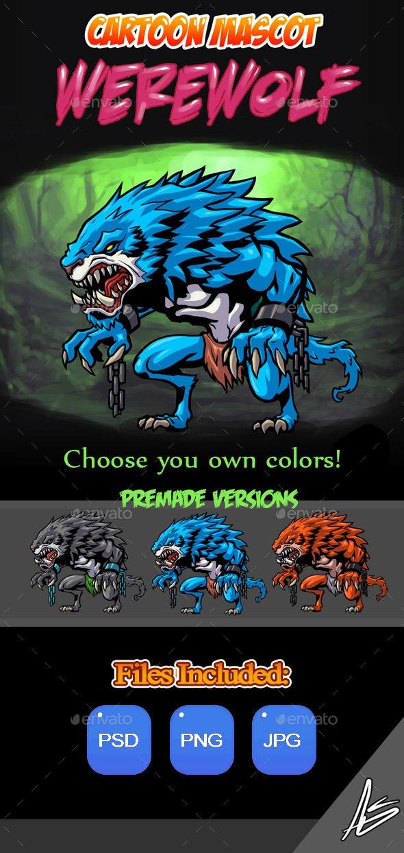 Werewolf Cartoon Mascot - Characters Illustrations