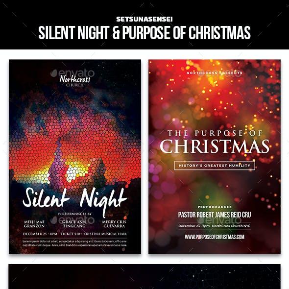 Silent Night & Purpose of Christmas Church Flyers